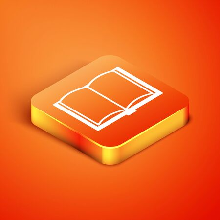 Isometric Open book icon isolated on orange background. Vector Illustration 版權商用圖片 - 134893381