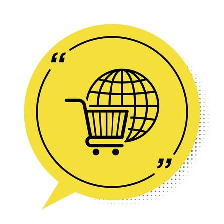 Black Shopping cart with globe icon isolated on white background. Online buying concept. Global market concept. Supermarket basket symbol. Yellow speech bubble symbol. Vector Illustration