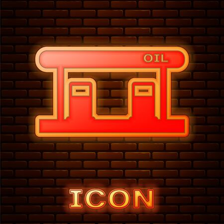Glowing neon Gas filling station icon isolated on brick wall background. Transport related service building Gasoline and oil station. Vector Illustration Stock Illustratie