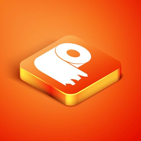 Isometric Toilet paper roll icon isolated on orange background. Vector Illustration