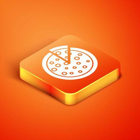 Isometric Pizza icon isolated on orange background. Vector Illustration