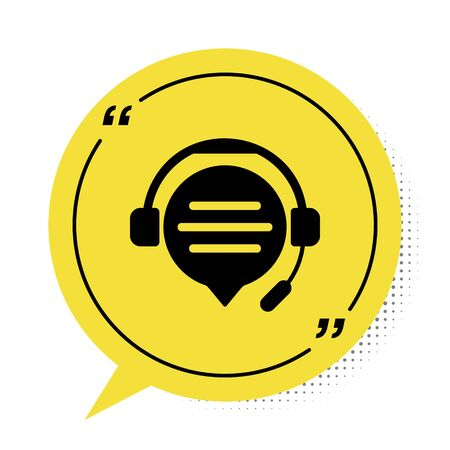Black Headphones with speech bubble chat icon isolated on white background. Support customer service, hotline, call center, faq, maintenance. Yellow speech bubble symbol. Vector Illustration