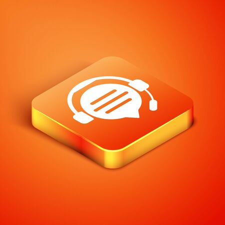 Isometric Headphones with speech bubble chat icon isolated on orange background. Support customer service, hotline, call center, faq, maintenance. Vector Illustration Stock Illustratie