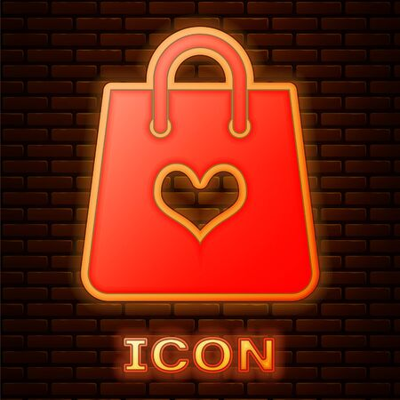Glowing neon Shopping bag with heart icon isolated on brick wall background. Shopping bag shop love like heart icon. Valentines day symbol. Vector Illustration