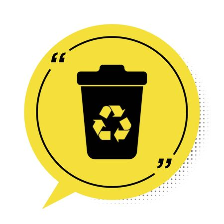 Black Recycle bin with recycle symbol icon isolated on white background. Trash can icon. Garbage bin sign. Recycle basket sign. Yellow speech bubble symbol. Vector Illustration