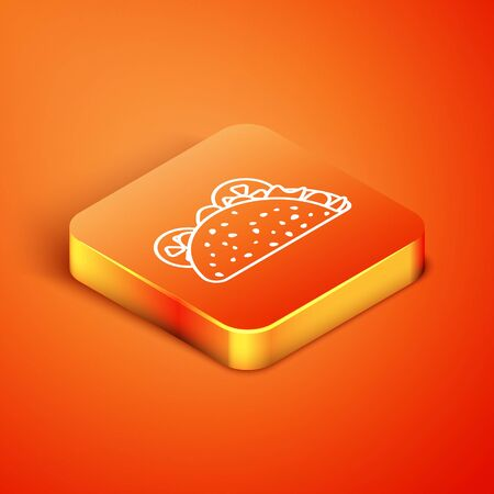 Isometric Taco with tortilla icon isolated on orange background. Traditional mexican fast food. Vector Illustration Reklamní fotografie - 134901273