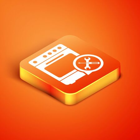 Isometric Oven with screwdriver and wrench icon isolated on orange background. Adjusting, service, setting, maintenance, repair, fixing. Vector Illustration Reklamní fotografie - 134901275