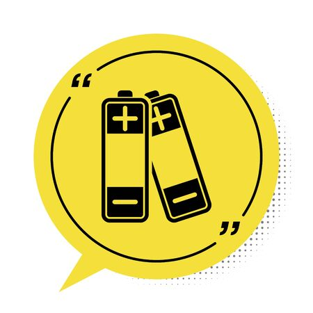 Black Battery icon isolated on white background. Lightning bolt symbol. Yellow speech bubble symbol. Vector Illustration