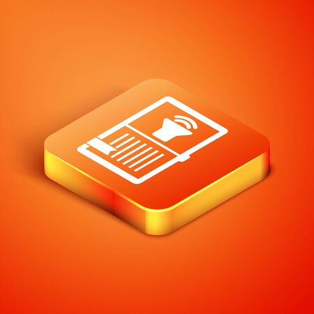 Isometric Audio book icon isolated on orange background. Audio guide sign. Online learning concept. Vector Illustration 版權商用圖片 - 134901279