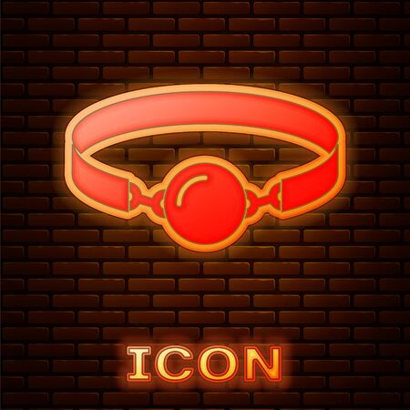 Glowing neon Silicone ball gag with a leather belt icon isolated on brick wall background. Fetish accessory. Sex toy for men and woman. Vector Illustration