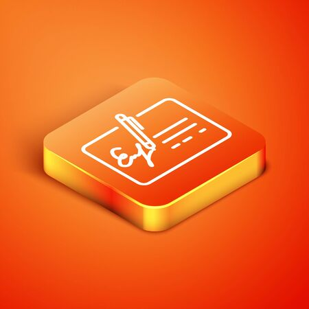 Isometric Signed document line icon isolated on orange background. Pen signing a contract with signature. Edit document sign. Vector Illustration Illusztráció