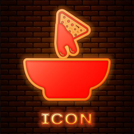 Glowing neon Nachos in plate icon isolated on brick wall background. Tortilla chips or nachos tortillas. Traditional mexican fast food. Vector Illustration