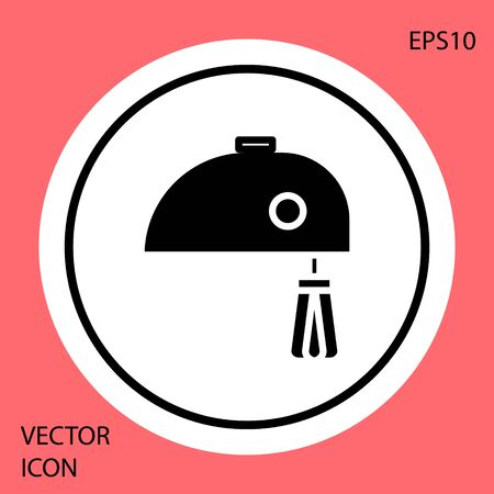 Black Electric mixer icon isolated on red background. Kitchen blender. White circle button. Vector Illustration Reklamní fotografie - 134901311