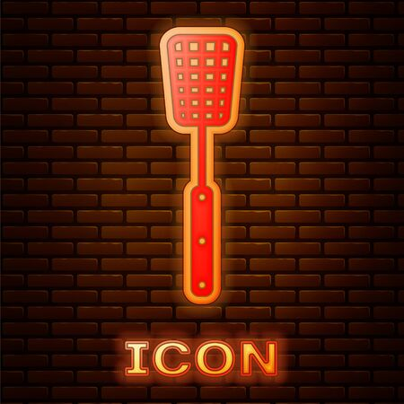 Glowing neon Barbecue spatula icon isolated on brick wall background. Kitchen spatula icon. BBQ spatula sign. Barbecue and grill tool. Vector Illustration Reklamní fotografie - 134901327