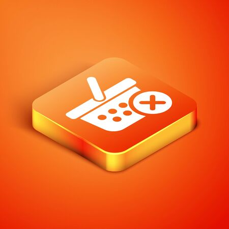 Isometric Remove shopping basket icon isolated on orange background. Online buying concept. Delivery service sign. Supermarket basket and X mark. Vector Illustration