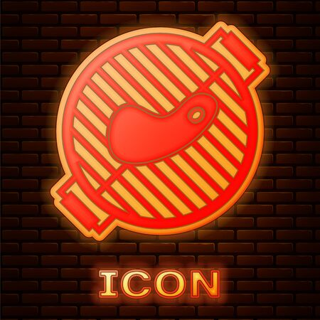 Glowing neon Barbecue grill with steak icon isolated on brick wall background. BBQ grill party. Vector Illustration 向量圖像