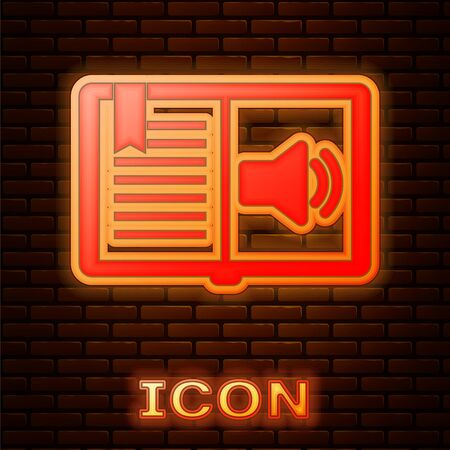 Glowing neon Audio book icon isolated on brick wall background. Audio guide sign. Online learning concept. Vector Illustration 版權商用圖片 - 134901677