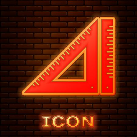 Glowing neon Triangular ruler icon isolated on brick wall background. Straightedge symbol. Geometric symbol. Vector Illustration 向量圖像