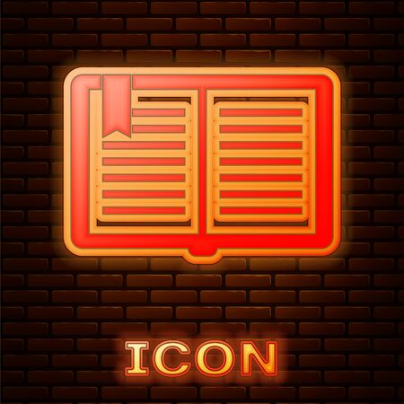 Glowing neon Open book icon isolated on brick wall background. Vector Illustration 版權商用圖片 - 134901573