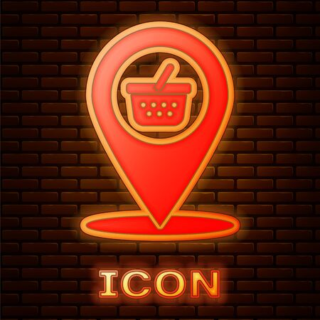 Glowing neon Map pointer with shopping basket icon isolated on brick wall background. Pin point shop and shopping. Supermarket basket symbol. Vector Illustration