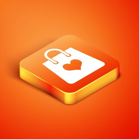 Isometric Shopping bag with heart icon isolated on orange background. Shopping bag shop love like heart icon. Valentines day symbol. Vector Illustration