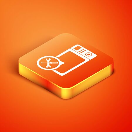 Isometric Microwave oven with screwdriver and wrench icon isolated on orange background. Adjusting, service, setting, maintenance, repair, fixing. Vector Illustration Reklamní fotografie - 134901689
