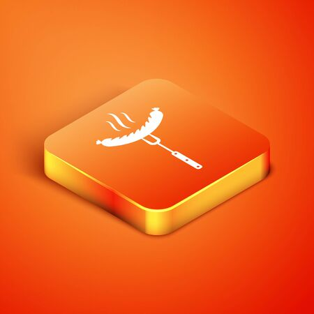 Isometric Sausage on the fork with steam icon isolated on orange background. Grilled sausage and aroma sign. Vector Illustration Reklamní fotografie - 134901692