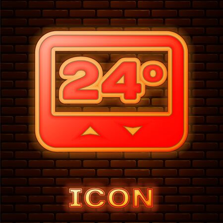 Glowing neon Thermostat icon isolated on brick wall background. Temperature control. Vector Illustration