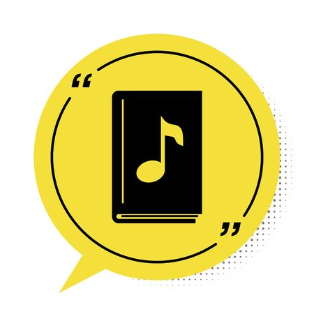 Black Audio book icon isolated on white background. Musical note with book. Audio guide sign. Online learning concept. Yellow speech bubble symbol. Vector Illustration 版權商用圖片 - 134901767