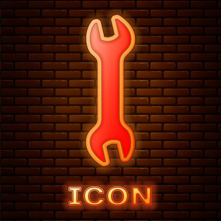 Glowing neon Wrench icon isolated on brick wall background. Spanner repair tool. Service tool symbol. Vector Illustration 向量圖像