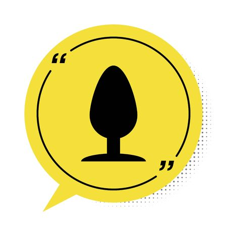 Black Anal plug icon isolated on white background. Butt plug sign. Fetish accessory. Sex toy for men and woman. Yellow speech bubble symbol. Vector Illustration
