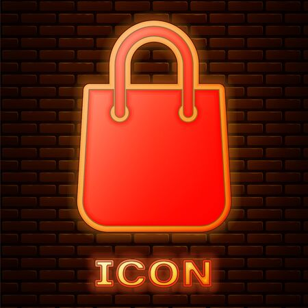 Glowing neon Shopping bag icon isolated on brick wall background. Package sign. Vector Illustration 向量圖像