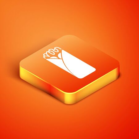 Isometric Burrito icon isolated on orange background. Traditional mexican fast food. Vector Illustration