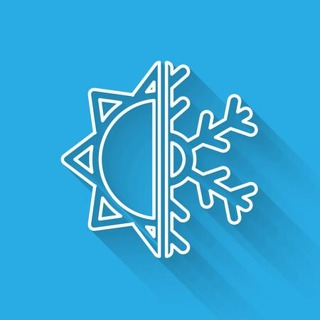 White line Hot and cold symbol. Sun and snowflake icon isolated with long shadow. Winter and summer symbol. Vector Illustration