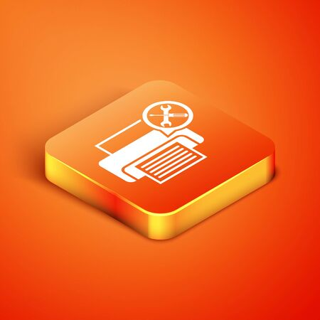 Isometric Printer with screwdriver and wrench icon isolated on orange background. Adjusting, service, setting, maintenance, repair, fixing. Vector Illustration