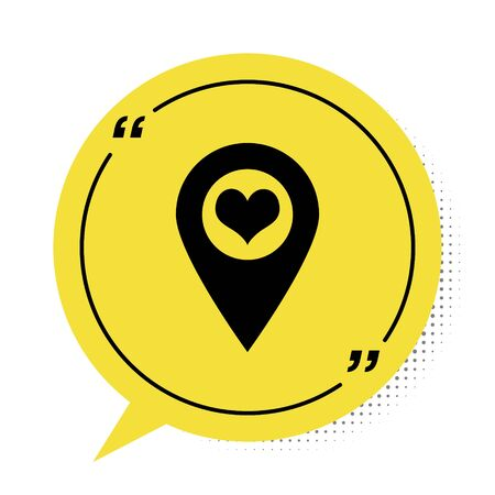 Black Map pointer with heart icon isolated on white background. Yellow speech bubble symbol. Vector Illustration Çizim