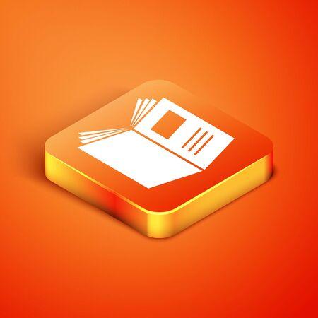 Isometric Open book icon isolated on orange background. Vector Illustration
