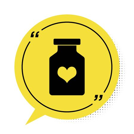 Black Medicine bottle with pills for potency, aphrodisiac icon isolated on white background. Sex pills for men and women. Yellow speech bubble symbol. Vector Illustration Illusztráció