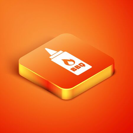 Isometric Ketchup bottle icon isolated on orange background. Fire flame icon. Barbecue and BBQ grill symbol. Vector Illustration Illustration