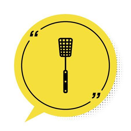 Black Barbecue spatula icon isolated on white background. Kitchen spatula icon. BBQ spatula sign. Barbecue and grill tool. Yellow speech bubble symbol. Vector Illustration