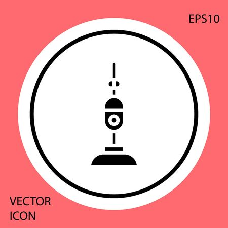 Black Vacuum cleaner icon isolated on red background. White circle button. Vector Illustration