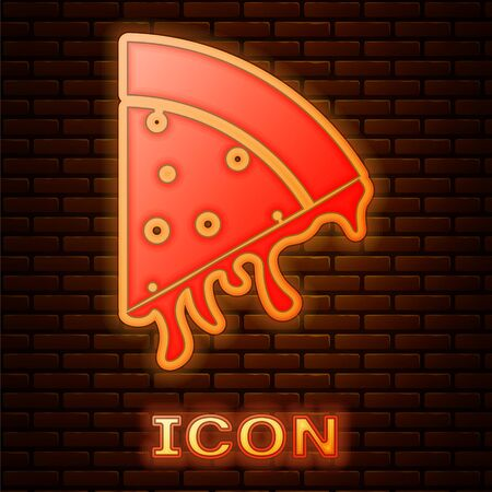 Glowing neon Slice of pizza icon isolated on brick wall background. Vector Illustration