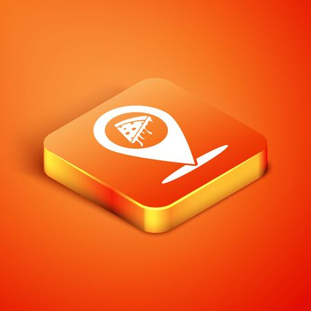 Isometric Map pointer with fast food slice pizza icon isolated on orange background. Pizzeria location icon. Pizza cafe and restaurant marker. Vector Illustration