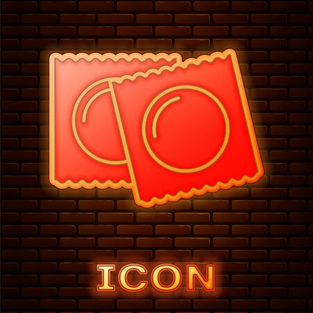 Glowing neon Condoms in package safe sex icon isolated on brick wall background. Safe love symbol. Contraceptive method for male. Vector Illustration Reklamní fotografie - 134896149