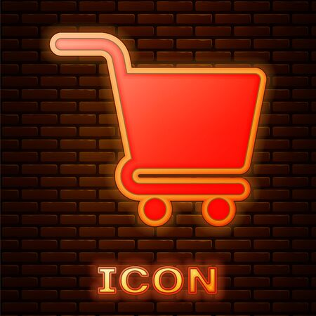 Glowing neon Shopping cart icon isolated on brick wall background. Online buying concept. Delivery service sign. Supermarket basket symbol. Vector Illustration
