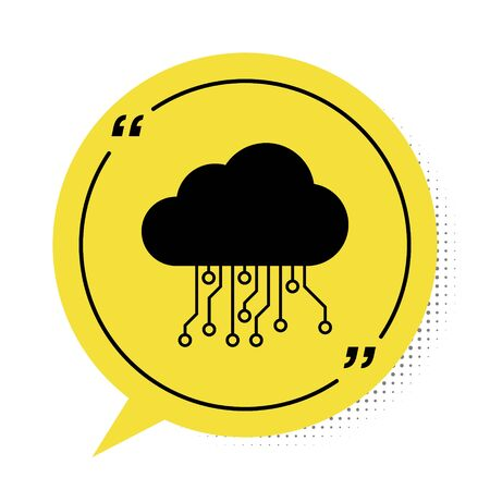 Black Internet of things icon isolated on white background. Cloud computing design concept. Digital network connection. Yellow speech bubble symbol. Vector Illustration Illusztráció