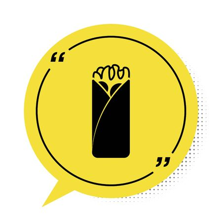 Black Burrito icon isolated on white background. Traditional mexican fast food. Yellow speech bubble symbol. Vector Illustration
