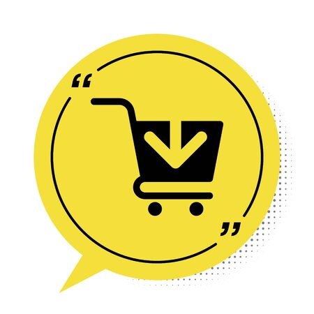 Black Add to Shopping cart icon isolated on white background. Online buying concept. Delivery service sign. Supermarket basket symbol. Yellow speech bubble symbol. Vector Illustration