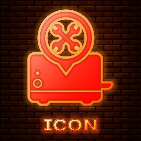 Glowing neon Toaster with screwdriver and wrench icon isolated on brick wall background. Adjusting, service, setting, maintenance, repair, fixing. Vector Illustration Illusztráció