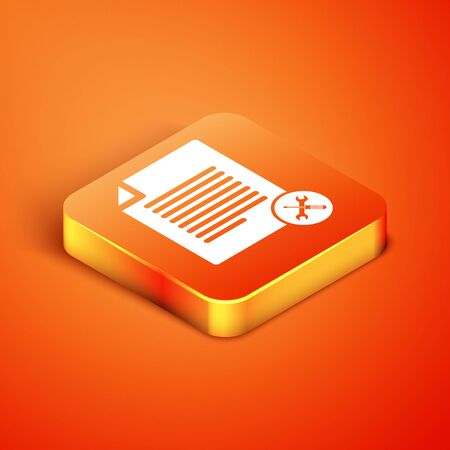 Isometric File document with screwdriver and wrench icon isolated on orange background. Adjusting, service, setting, maintenance, repair, fixing. Vector Illustration Çizim